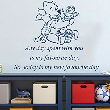 Wall Decals Quotes Vinyl Sticker Decal Quote Winnie the Pooh Any day spent with you is my favourite day. So, today is my new favourite day Nursery Baby Room Kids Boys Girls Home Decor Bedroom Art Design Interior NS807