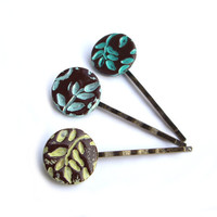Hair pinsteal hair pins blue hair pins green yellow by JPwithLove