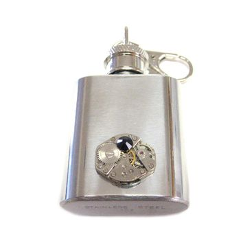 1 Oz. Stainless Steel Key Chain Flask with Steampunk Watch Gear Pendant and Black Swarovski Crystal