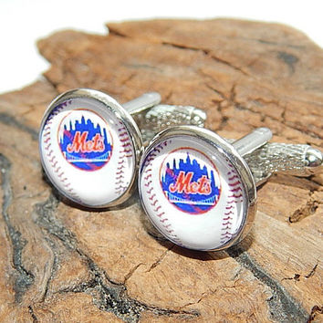 New York Mets baseball icon cuff links, Mets baseball simbol, Mets baseball patch, baseball sports team, baseball fan, baseball cuff link