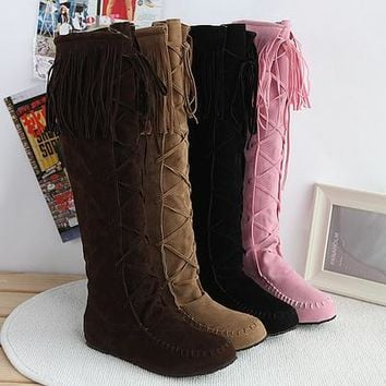 Soft suede lace up knee high hippie boots with fringe