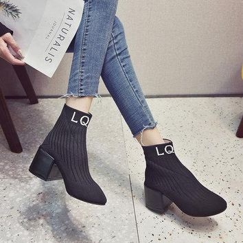 Ankle Elastic Sock Boots Chunky High Heels Booties