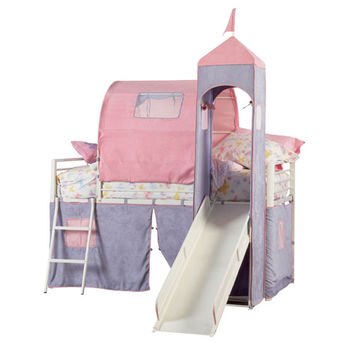 Powell  374-069 Princess Castle Twin Size Tent Bunk Bed with Slide