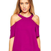 Puple V- Neckline Off Shoulder Blouse