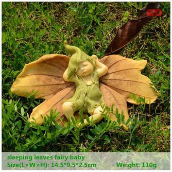 Everyday Collection Leaf Fairy Angel Figurine Baby Outdoor Statue/Miniature Fairy Garden Ornament Christmas Decoration For Home