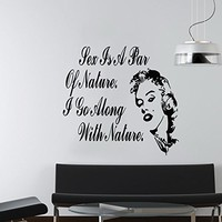 Wall Decals Sex is a part of nature Quote Actress Marilyn Monroe Decal Vinyl Sticker Family Bedroom Home Decor Ms163
