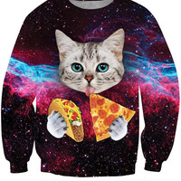 Cat Food Crew Neck Sweatshirt Men & Women Cats In Space  Harajuku Style All Over Print Sweater