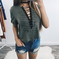 Poem Lace Up Top (Olive)