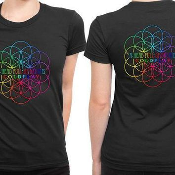 CREYH9S Coldplay A Head Full Of Dreams Logo With Center Title 2 Sided Womens T Shirt