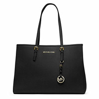 Michael Kors Stylish Waterproof Jet Set Travel Saffiano Leather Medium Tote