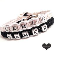 Gamers Bracelets for Couples Black White set of 2