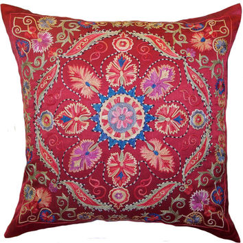 Handmade Suzani Silk Pillow Cover EMP777, Suzani Pillow, Uzbek Suzani, Suzani Throw, Suzani, Decorative pillows, Accent pillows