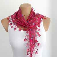 Floral Vine Red Scarf, Cotton Summer Scarf, Women Scarves