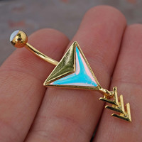 14kt Gold Chevron Arrow Belly Button Ring