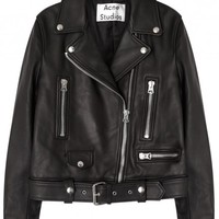 Mock black leather biker jacket