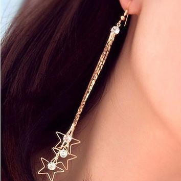 Korean Rhinestone 3-pcs Tassels Chain Earrings [11326375892]
