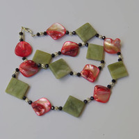 Green and red stone necklace Short geometric necklace Art Deco jewelry Natural stone Canadian jade Mother of pearl OOAK unique gift for her