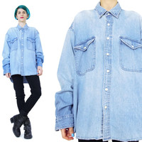 90s Denim Shirt Light Wash Denim Shirt Vintage Mens Denim Shirt Unisex Faded Blue Chest Pockets Button Down Long Sleeve Jean Shirt (L)