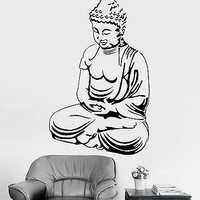 Wall Sticker Buddha Sitting Zen OM Chakra Relaxation Vinyl Decal (z2924)