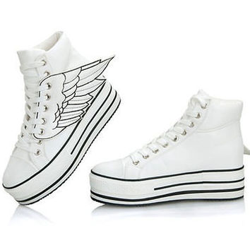 Women Chunky Angel Wings Lace Up High Platform High Top Flats Sneaker ShoesUS6-9