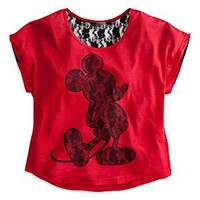 Mickey Mouse Lace Tee for Women   Disney Store