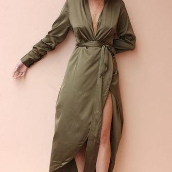 Satin Maxi Khaki by Never Fully Dressed