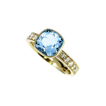 Cushion cut sky blue topaz engagement ring with diamonds, yellow gold solitaire ring, milgrain, vintage, blue, unique engagement, topaz ring