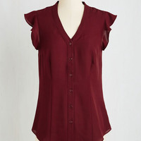 Mid-length Short Sleeves Thread and Flutter Top in Merlot