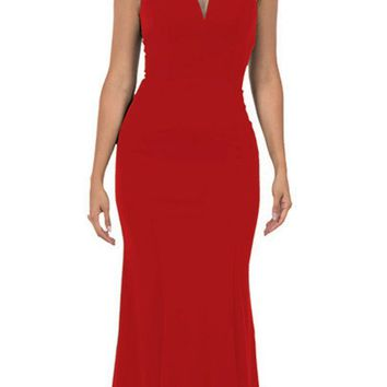 Cap Sleeved Red Long Formal Dress V-Neck and Back