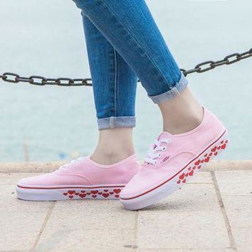 ICIKGV7 Design For Valentine's Day Vans AUTHENTIC Light Pink Sneaker Leisure Shoes