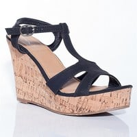 Fashion Focus Day Out T-Strap Cork Heel Wedge Sandals - Black