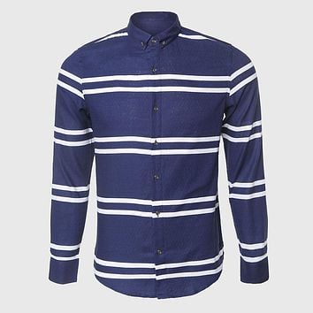 Long Sleeve Pattern Shirt Men Slim Stripe Shirt Man White Navy Horizontal Stripe Party Clothes Button Down Collar
