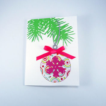 Pink Christmas Card, Merry and Bright, holiday card, non-traditional, pink & green, snowflake, ornament, handmade