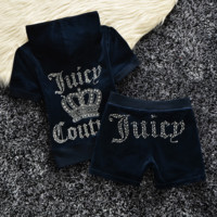 """Juicy  couture""Fashion Velvet tracksuit pants with short sleeves hot drill head Blue (9 color)"