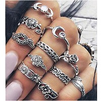 11PCS/Set Vintage Moon Animal Knuckle Crystal Ring Sets Anel Punk Boho Style Hand Flower Midi Rings for Women Jewelry