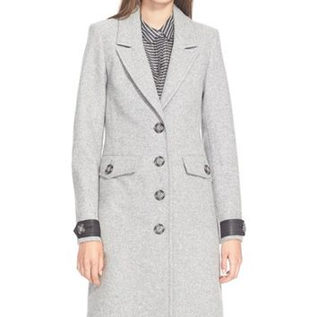 Women's Burberry Brit 'Steadleigh' Leather Detail Single Breasted Reefer Coat,