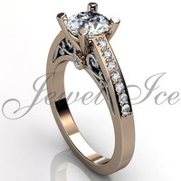Engagement Ring - 14k rose and white gold diamond unique art deco filigree scroll engagement ring, wedding ring, anniversary ring ER-1113-6