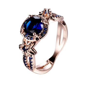 Vintage Round Cut Blue Sapphire Ring