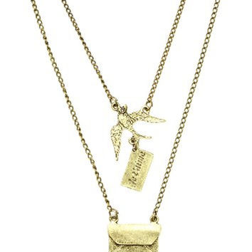 Sparrow Love Letter Necklace Je t'aime Dove Antique NC25 Gold Tone Statement Fashion Jewelry