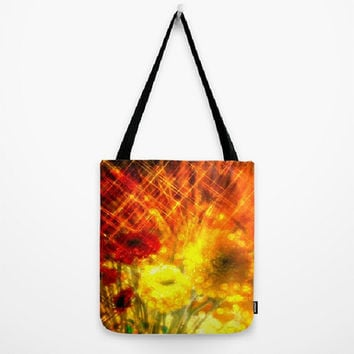 Flowers, Light, Yellow, Red, Joy - Tote Bag - 3 Sizes Available - Baby Shower, Grocery, Beach, Busy Mom, Teacher, Student-Made To Order-J#77