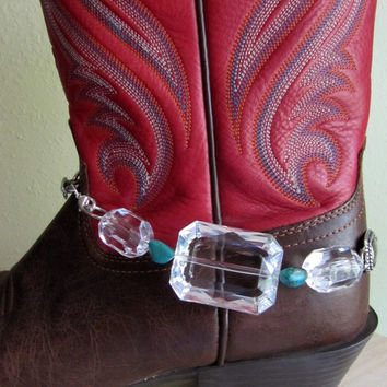 Chunky Boot Bracelet.. Clear faceted beads.. conchos.. chain.. turquoise colored accents
