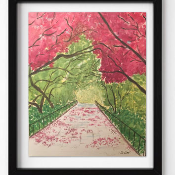 Watercolor flowers, Original Landscape Print, Pink Nursery Art, Park painting, New York City, cheerful flowers, green trees