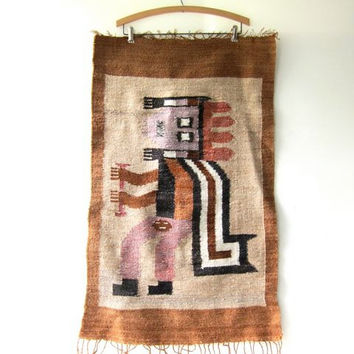 Vintage Wool Tapestry Hanging. Handmade Weaving. Aztec  Ethnic Warrior