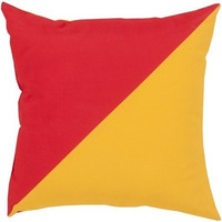 Color Block Poppy Red and Yellow Outdoor Cushion
