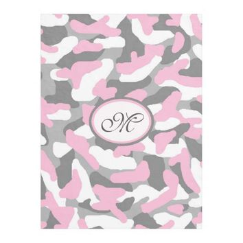 Personalized Grey Gray Pink Camo Camouflage Fleece Blanket