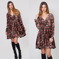 Vintage 90s BABYDOLL Mini Dress Floral Print VELVET Dress Grunge Floral Mini Dress Boho Dress Pleated  FESTIVAL Dress