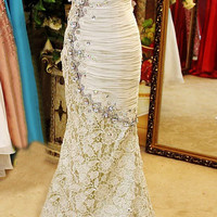 Crystal Wedding/ Evening Dress, Brussel Lace Chiffon Wedding Dress, Evening Dress