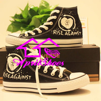 Converse Sneakers Customize Rise Against Shoes