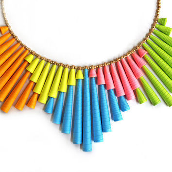 Neon necklace - Neon Jewelry - Colorful necklace - Statement jewelry - Neon, Pink, Orange, Blue, Yellow, Green, Colorful, Statement