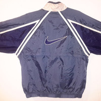 Vintage NIKE 90s Windbreaker Blue Sz XL Retro Light Jacket Track suit Air Jordan Flint Sport Blue Obsidian